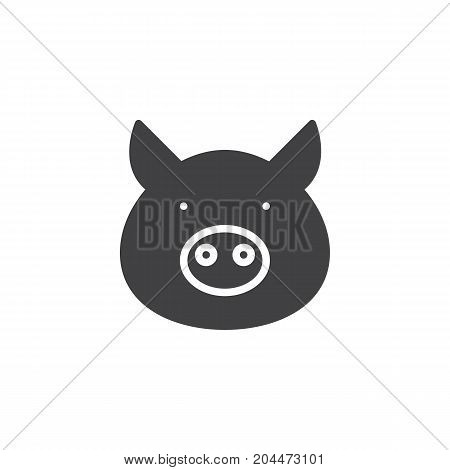 Pig head icon vector, filled flat sign, solid pictogram isolated on white. Symbol, logo illustration