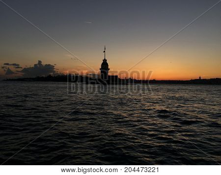 Maidens Tower During Sunset In Istanbul, Turkey.
