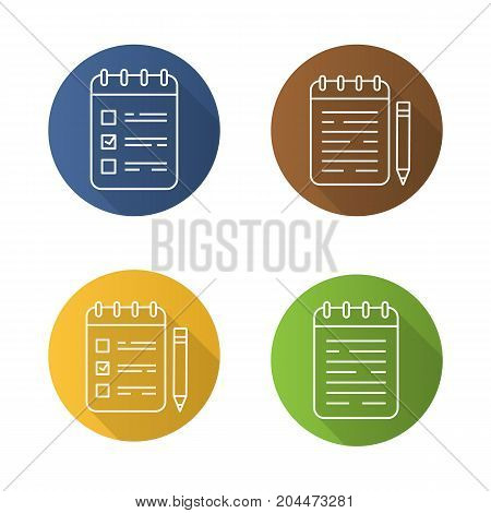 Notepads flat linear long shadow icons set. Notebooks and to do lists with pencils. Vector outline illustration