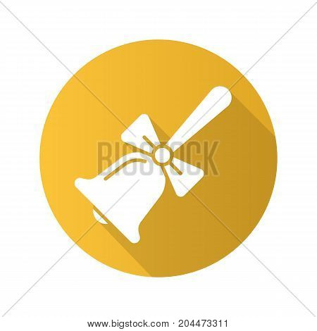 School bell with bow. Flat design long shadow glyph icon. Vector silhouette illustration