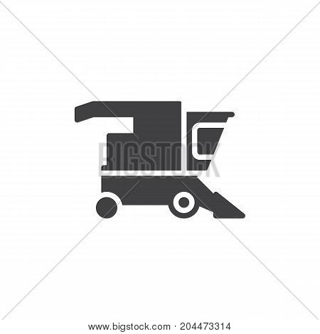 Combine harvester icon vector, filled flat sign, solid pictogram isolated on white. Symbol, logo illustration