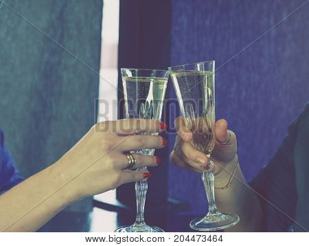 Champagne In Two Glasses, Toast,two
