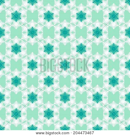 Seamless pattern with snowflakes white green blue. Vector Illustration