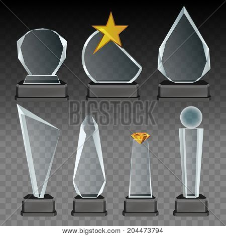 Vector set of glass transparent trophies and awards with dark stands. Realistic crystal and glass sports trophies, memorial and recognition gifts.