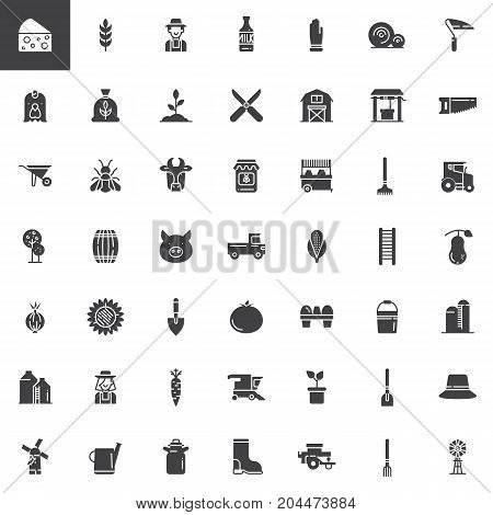 Farming and agriculture vector icons set, modern solid symbol collection, filled pictogram pack. Signs, logo illustration. Set includes icons as agriculture equipment, glove, shovel, rake