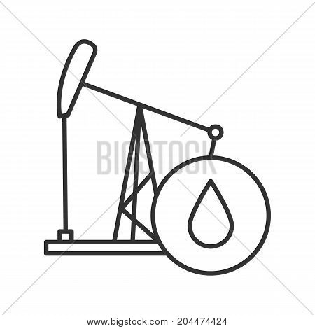 Oil derrick linear icon. Thin line illustration. Pump jack with oil drop. Contour symbol. Vector isolated outline drawing