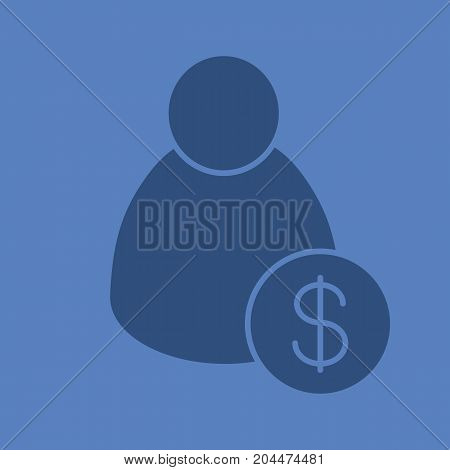 Staff hiring glyph color icon. Silhouette symbol. Employer. Man with dollar sign. Negative space. Vector isolated illustration
