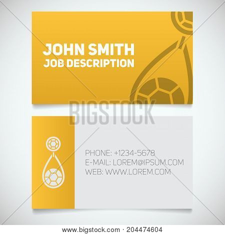Business card print template with earring logo. Women's jewelry shop. Stationery design concept. Vector illustration