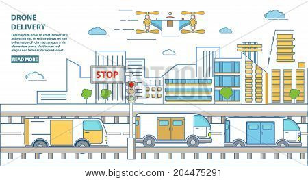 Drone delivery concept vector horizontal banner. Quadcopters delivering parcels to customers. Modern flat linear style design element for drone delivery business advertising.
