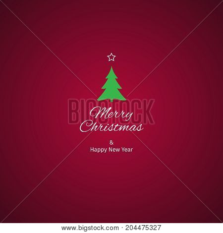 Christmas and New Year greeting card with red crimson background vector illustration with well organized layers