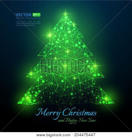 Green Polygonal Christmas Tree With Flares For Merry Christmas And Happy New Year 2018 With Texture