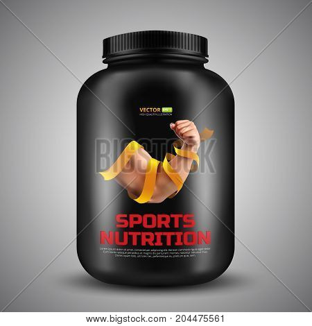 Sports nutrition vector container with label of Biceps a strong man wrapped in a gold ribbon. Realistic illustration of black plastic jar isolated on grey background
