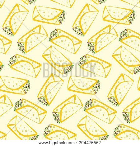 Seamless pattern with colorful cartoon outline burritos. Minimalistic flat linear mexican burrito texture for fast food restaurant or cafe menu design background wallpaper cover wrapping paper