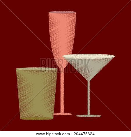 flat shading style icon Cocktail glasses wineglass