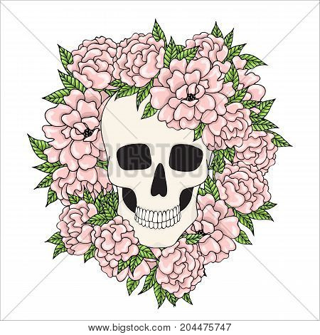 A human skull with pink flowers on a white background.