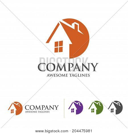 simple house and real estate logo with circle style concept