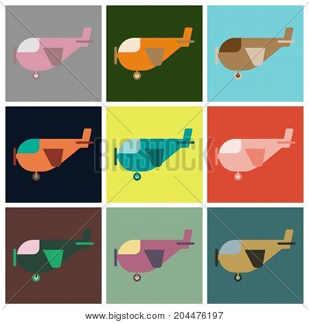 Set of icons in flat design for airport Light aircraft