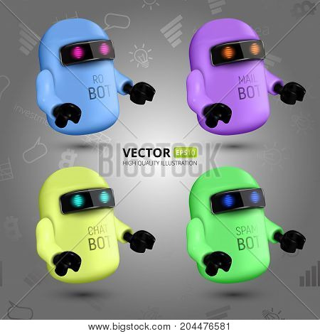 Vector Set With Four Colorful Chat Bots, The Concept Of Virtual Assistant For Ui, Mobile Application