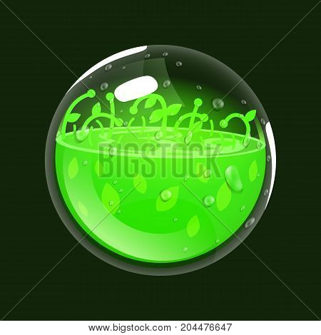 Sphere of life. Game icon of magic orb. Interface for rpg or match3 game. Health or nature. Big variant. Vector illustration