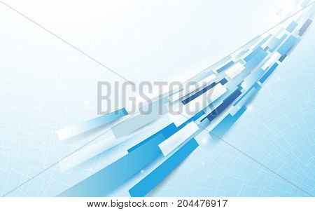 Abstract blue and white rectangles line motion background vector design