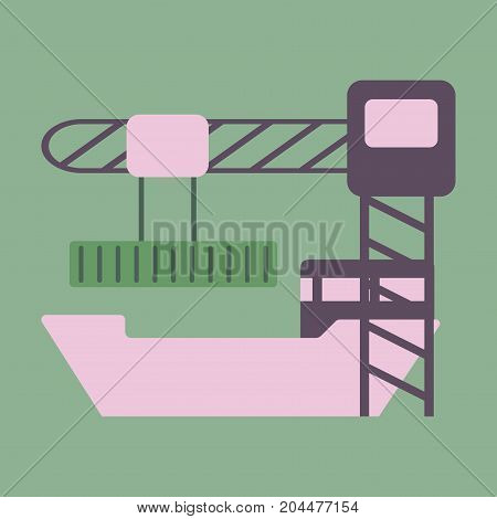 Icon in flat design Container loading ship
