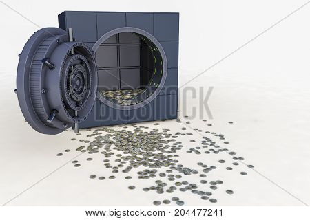 a safe and a lot of euro coins (3d rendering)