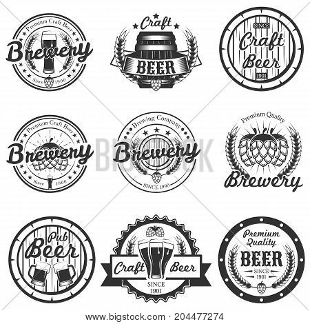 Vector set of vintage craft beer, brewery logos, emblems, badges, labels isolated on white background. Typography design for brewing company advertising.