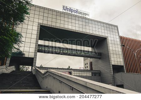 Bologna Italy 10 Sep 2017: The Gruppo Unipol building in Zona Fiera (fair distric) in Bologna. Unipol is a famous italian insurrance company