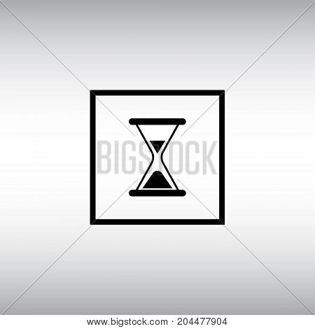 Hourglass flat vector icon. Hourglass isolated vector sign. Loading square button.