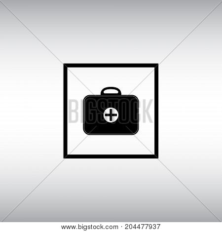 Medicine chest isolated vector sign. First aid kit vector flat icon. Cure square button image.
