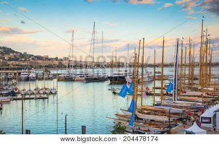 Cannes, ITALY - September 18, 2016: Le Vieux Port of Cannes. Cannes yachting festival view at sunset
