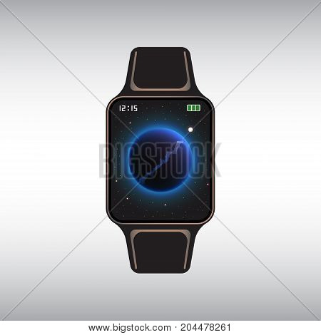 Black smart watch with cosmic decor. Isolated smart watch vector sign. Flat smart watch vector icon.