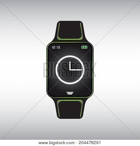 Black smart watch with white clock face at the screen. Flat smart watch vector icon. Isolated smart watch vector sign.