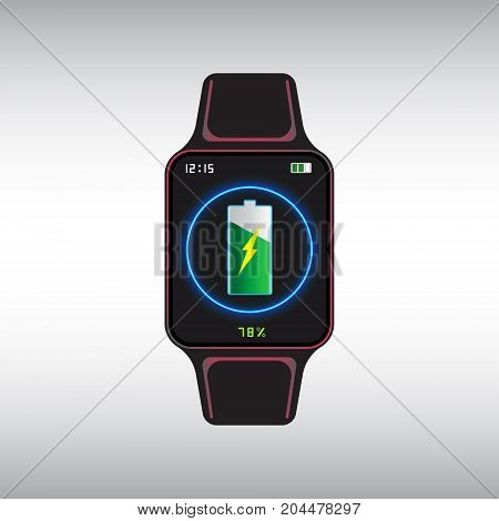 Black recharging smart watch with the level of charge on the screen. Smart watch isolated vector sign. Smart watch flat vector icon.