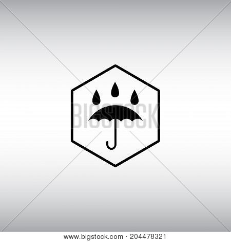 Waterproof flat vector icon. Isolated umbrella vector sign. Waterproof hexagon badge.