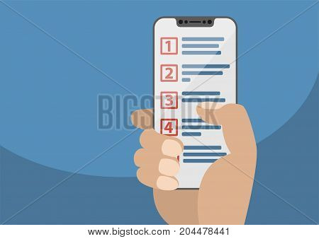Hand holding modern bezel free smart phone. Prioritized list displayed on touchscreen as concept for prioritization of work items. Illustration in flat design.