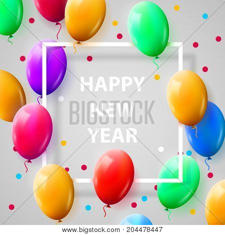 New year celebration Poster with Shiny Balloons on White Background with Square Frame. Vector illustration.