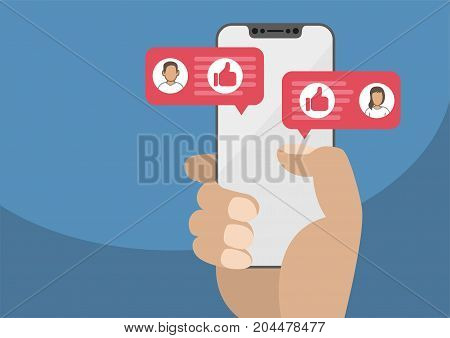 Hand holding modern bezel free smartphone as concept for social network. Thumbs up icon displayed within conversation of man and woman. Illustration in flat design.