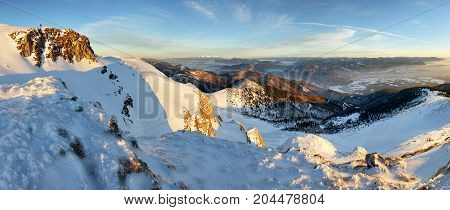 Sunset in mountain at winter in Slovakia