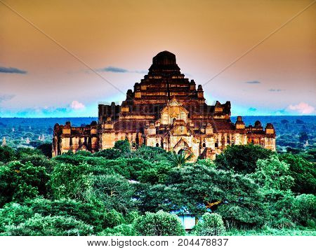 Myanmar, Bagan - Sunset Aerial View On Dhammayangyi Temple Nb.2