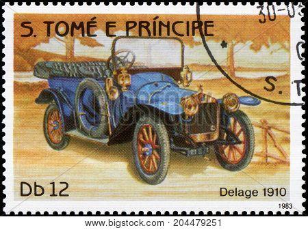 S.TOME E PRINCIPE - CIRCA 1983: Stamp printed in S.Tome e Principe shows image of the retro car Delage 1910 year of release