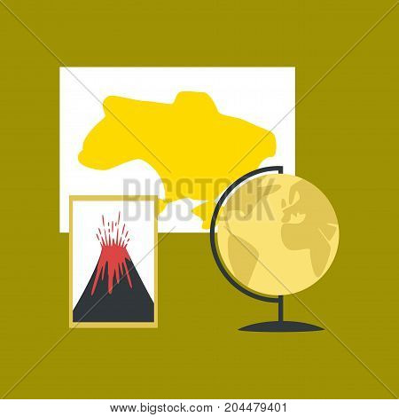 flat icon on stylish background school subjects of study geography
