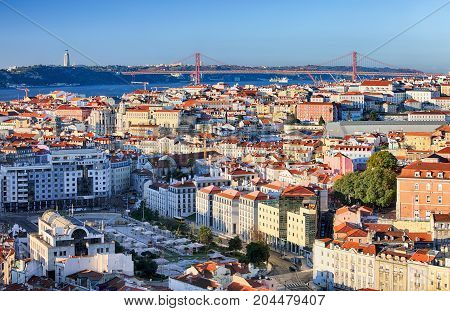 Lisbon skyline in Portugal at a day