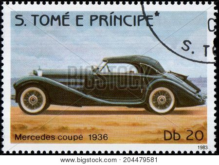 S.TOME E PRINCIPE - CIRCA 1983: Stamp printed in S.Tome e Principe shows image of the retro car Mercedes coupe 1936 year of release