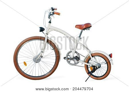 White Retro Stylized Custom Cruiser Bike Isolated With Clipping Path