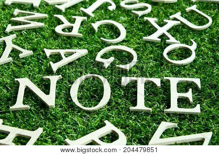 Wood alphabet in wording note on artificial green grass background