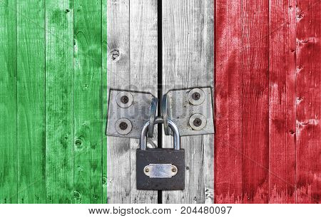 Italy flag on door with padlock close