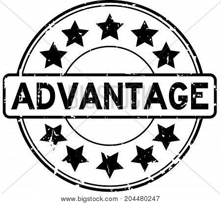 Grunge black advantage with star icon round rubber seal stamp on white background