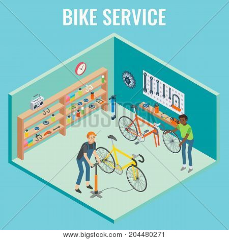Vector 3d isometric sectional view bike service concept illustration. Cutaway interior of bicycle repair shop with mechanics.