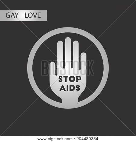 black and white style icon Stop AIDS symbol